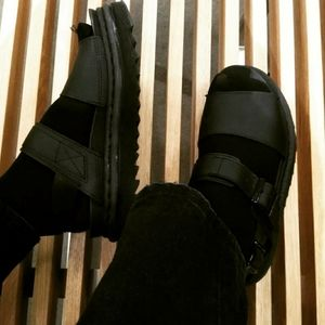 Doc Marten's Black Hydro Leather Sandals
